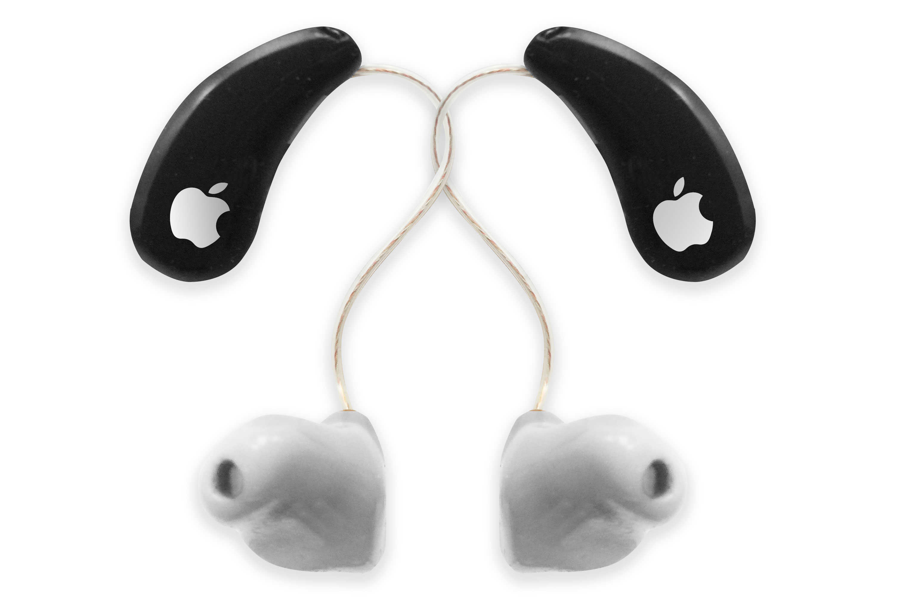 OK, I admit, these are just regular hearing aids with an Apple logo stuck on them. I'm sure Jonathan Ive and his team would come up with something way better.