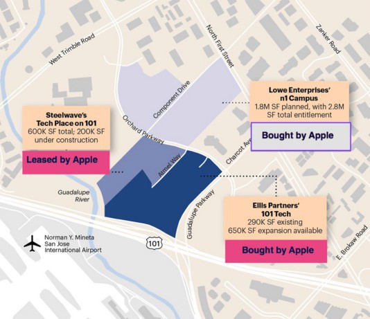 Apple's San Jose offices will cover about 86 acres.