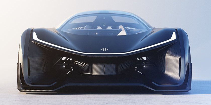 Faraday Future's concept car looks like a batmobile.