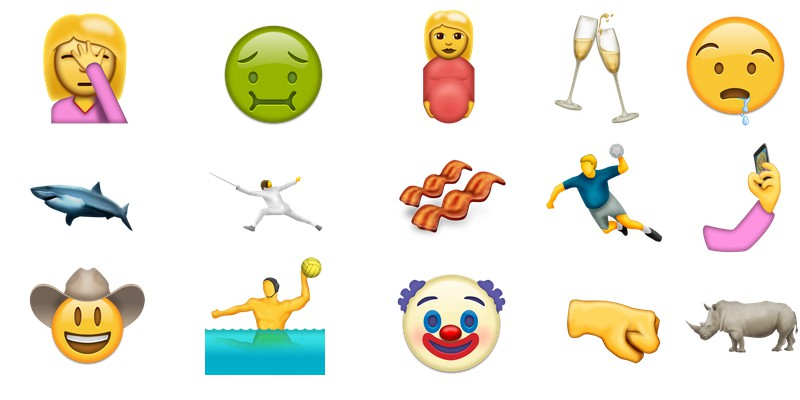Some of the new emoji in Unicode 9.0.