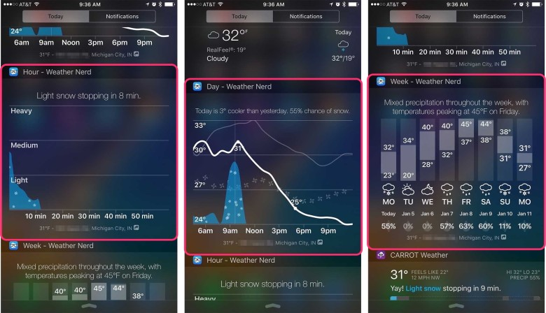 Weather Nerd offers three different widgets to choose from.
