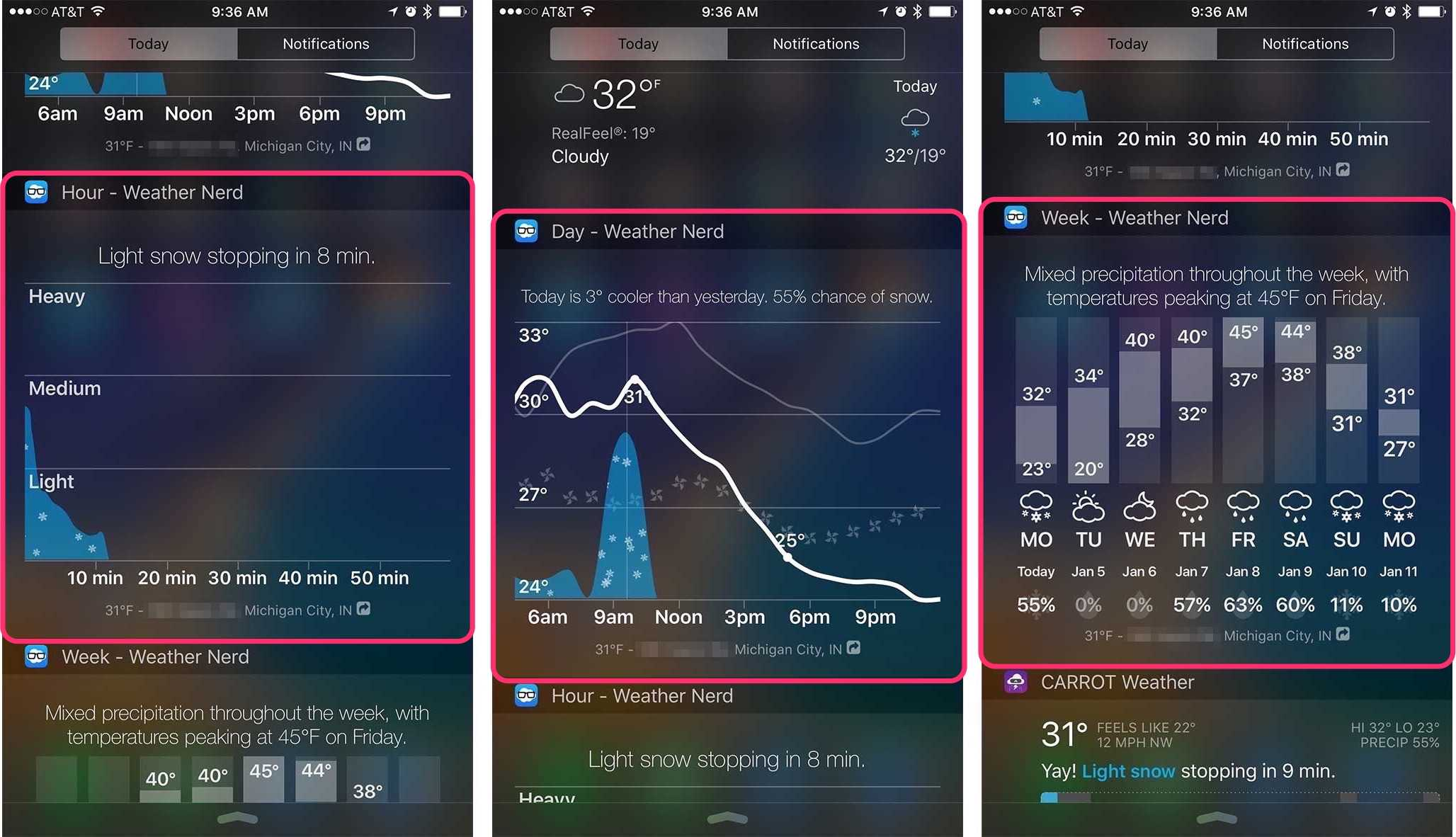 weather nerd offers three different widgets to choose from