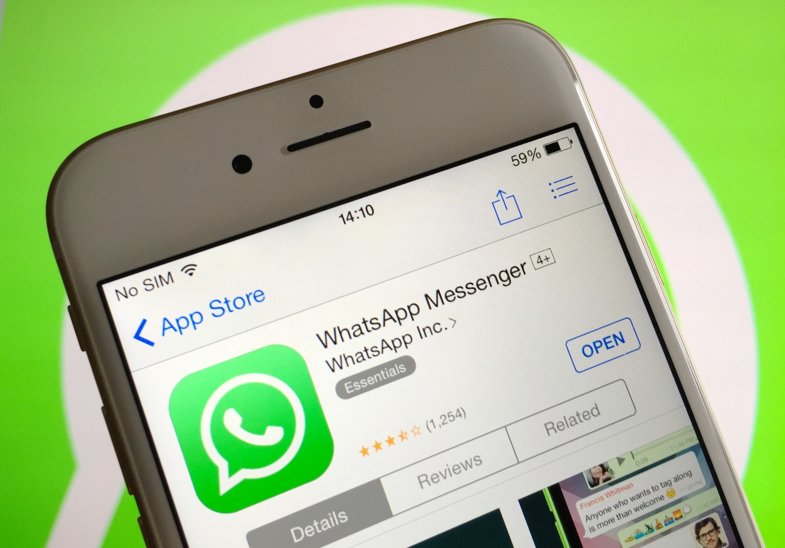 WhatsApp on iOS