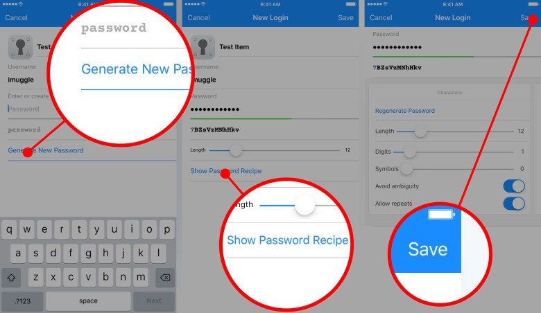 How to generate a strong password with 1Password.