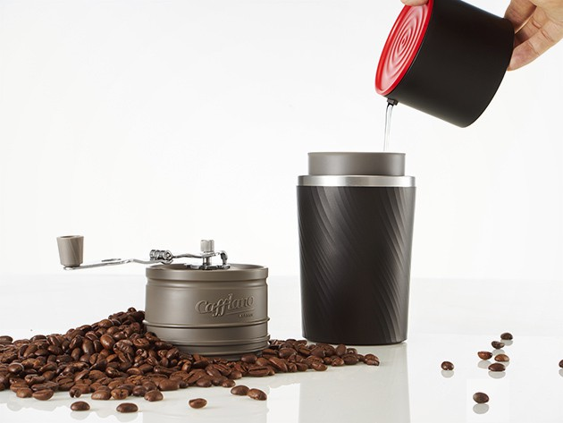 Brew the perfect cup of joe anywhere you go with this all-in-one coffeemaker