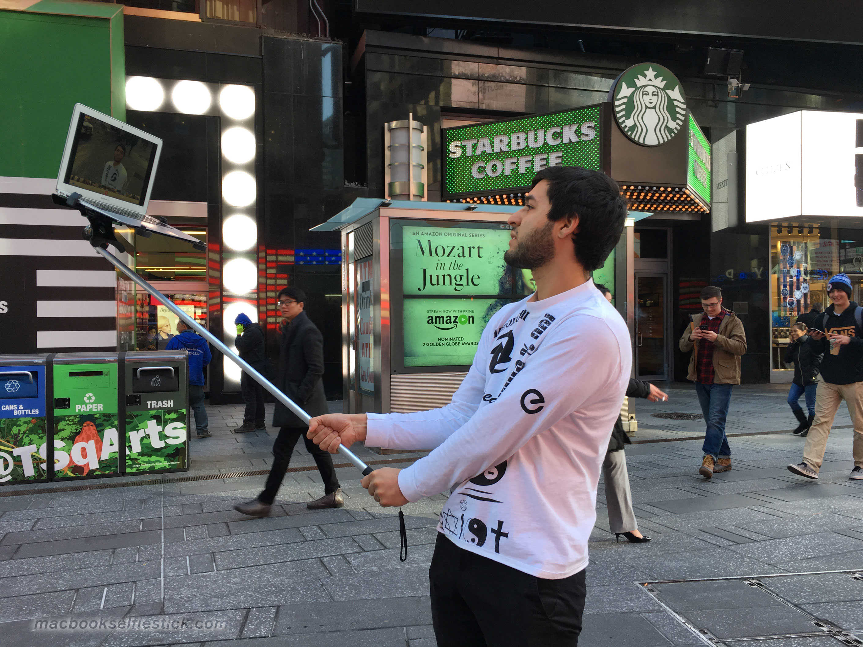 I'll take a double-shot half-caff soy latte with a side of massive MacBook selfie stick, please.