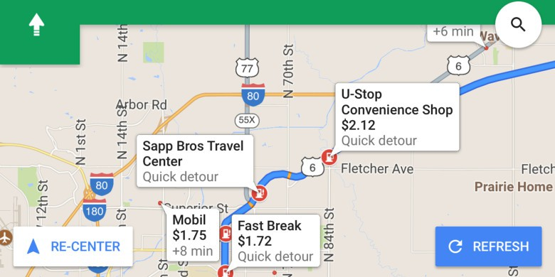 Google-Maps-pit-stops iOS