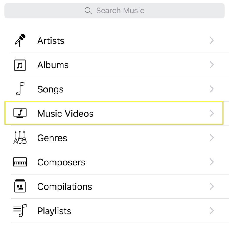 Tap here to access Music Videos from your iPhone.
