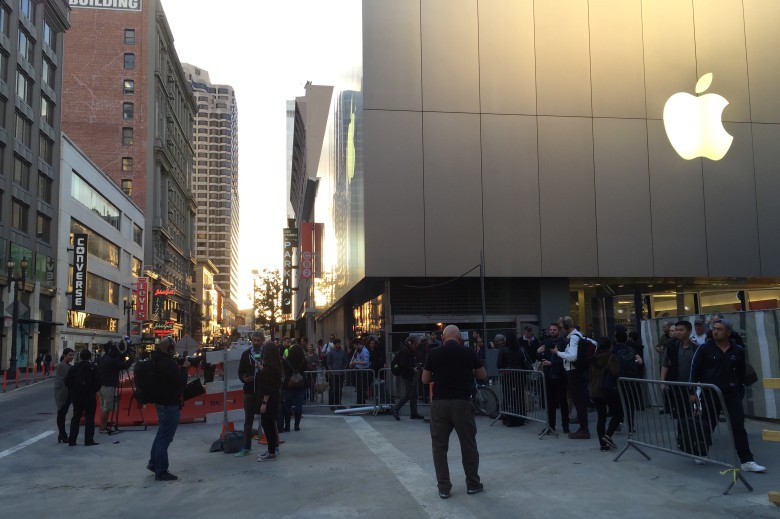Protesters gather around the Apple Store in downtown San Francisco.