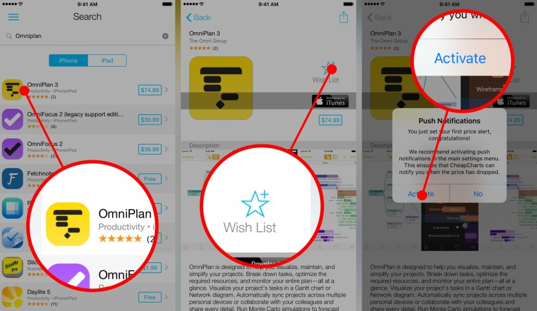 How to add apps to CheapCharts for notifications.
