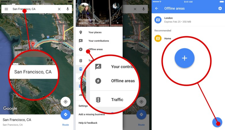 How to save offline maps with Google Maps for iPhone (Step 1 of 2).