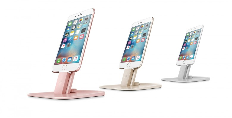 The HiRise Deluxe can be adjusted to fit any iPhone or iPad you own and comes in finishes to match your device.