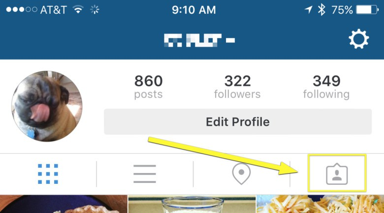 Tap this little tags button to check out your tagged photos.