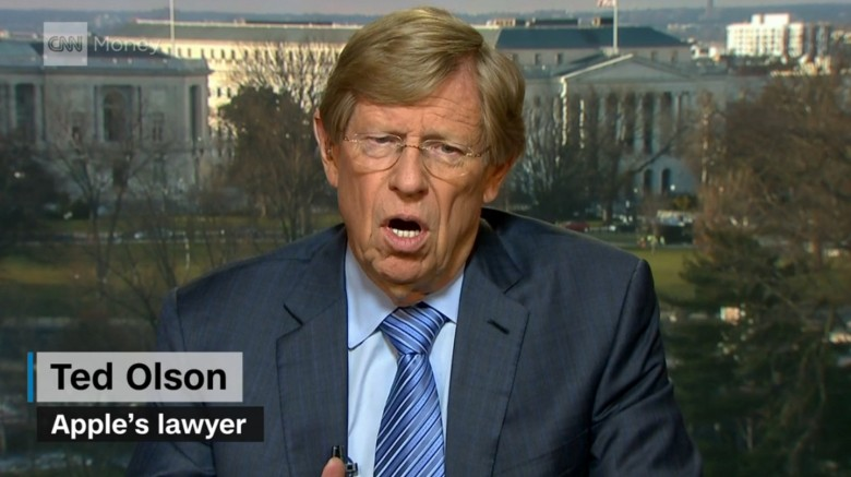Legendary lawyer Ted Olson has taken up Apple's case.