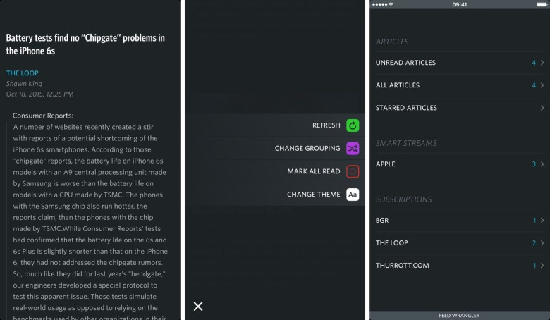 Unread offers a beautiful interface that's completely gesture driven.