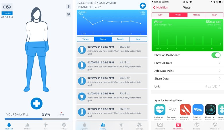 WaterMinder integrates wonderfully with the Health app so you can view all your stats in one place.