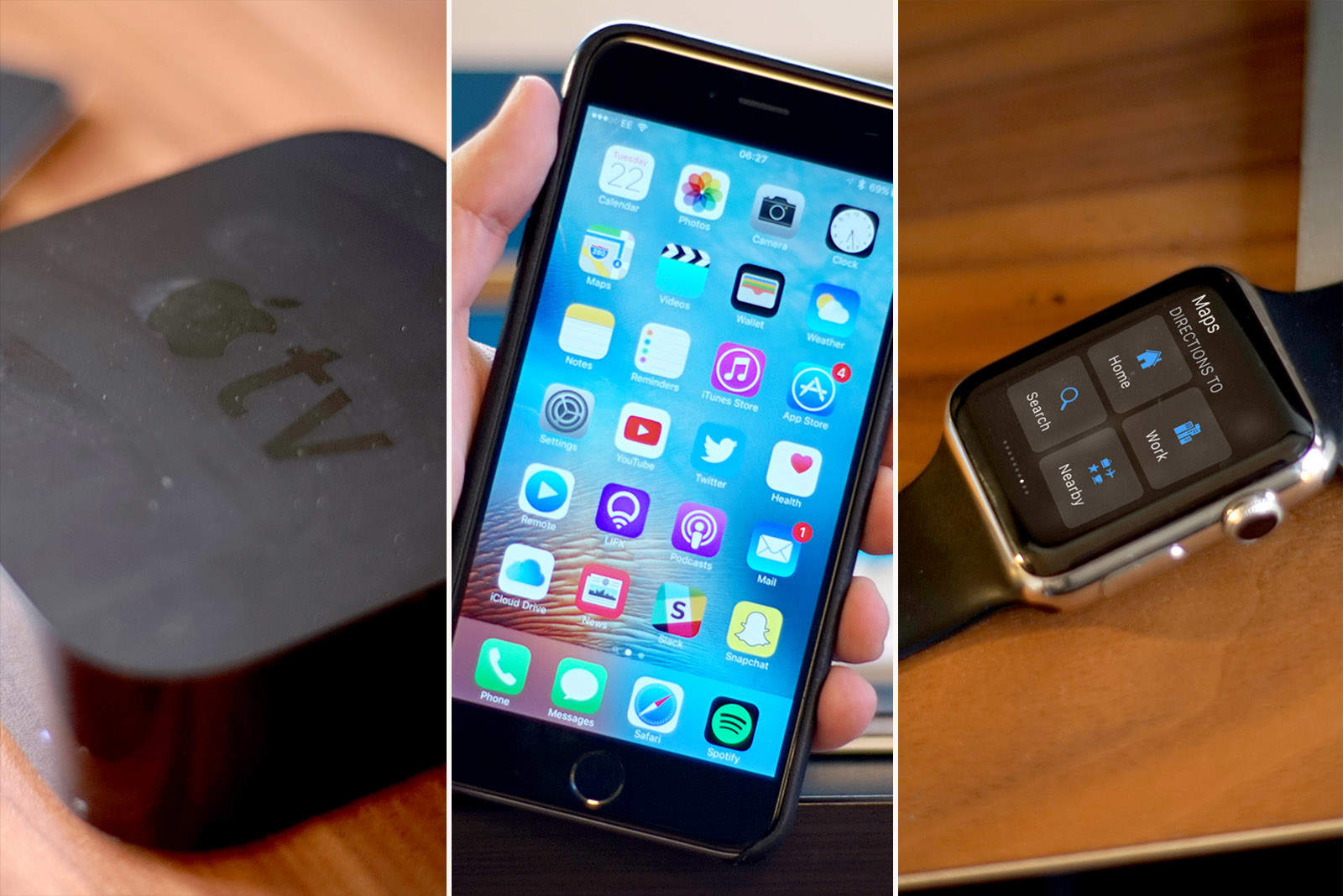 Apple tv, iPhone and Apple Watch
