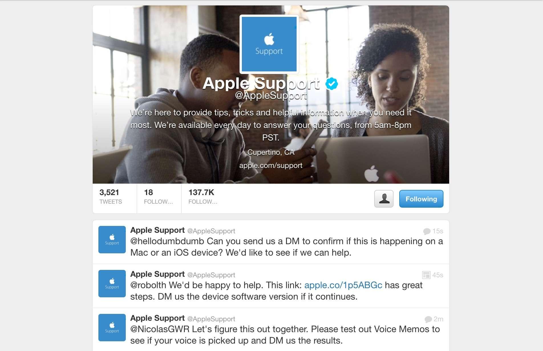 AppleSupport Twitter