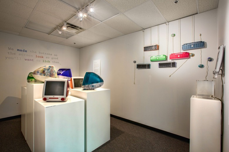 The colorful era of the first iMacs on display in an Apple Pop-up exhibit at the Computer Museum of America in Roswell, Ga.