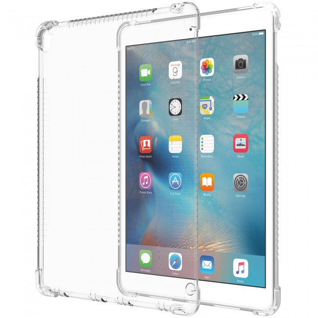Crystal-clear thermoplastic encases the new iPad Pro in transparency.