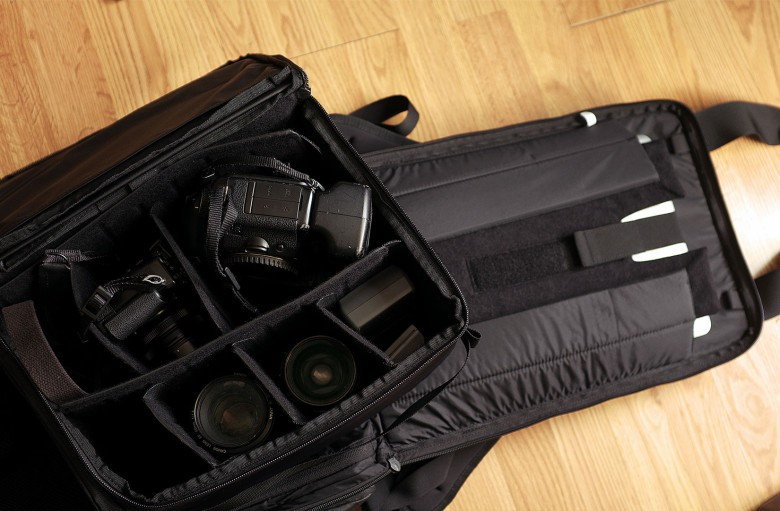 Camera gear and a 17-inch laptop is snug in a PRVKE pack.