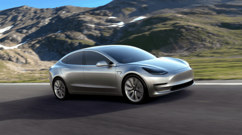 The new and very svelt Tesla Model 3.