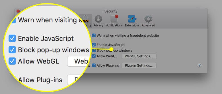 Check this box to block pop-ups in Safari.