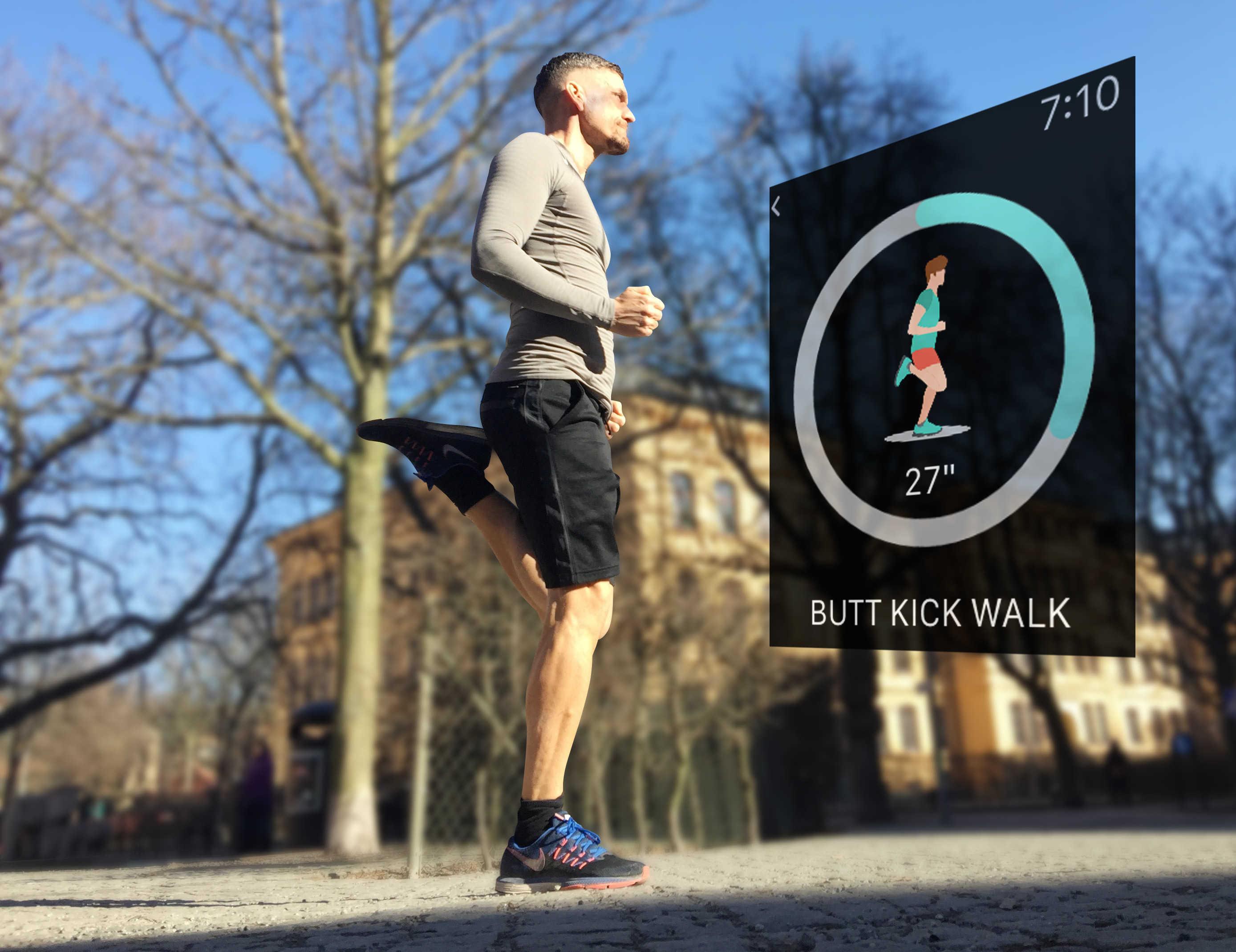 Kicking butt – Watch app RunnerStretch recommends a butt kick walk as part of your warmup