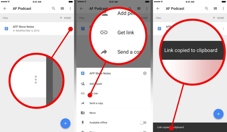 First you'll need to copy the link to a file to your clipboard from within the Google Drive app. You only have to do this once for each file.