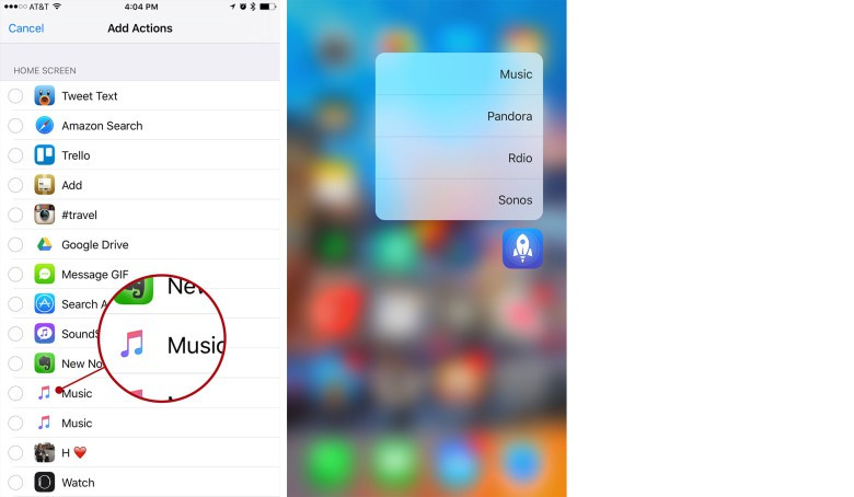 How to set up your new actions for use with 3D Touch (Steps 2 of 2).