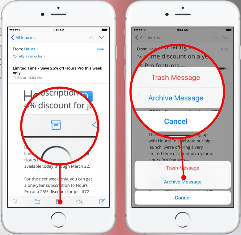 If you're inside a mail message, just hold down on the delete or archive button and you get *both* options, not just the default one.