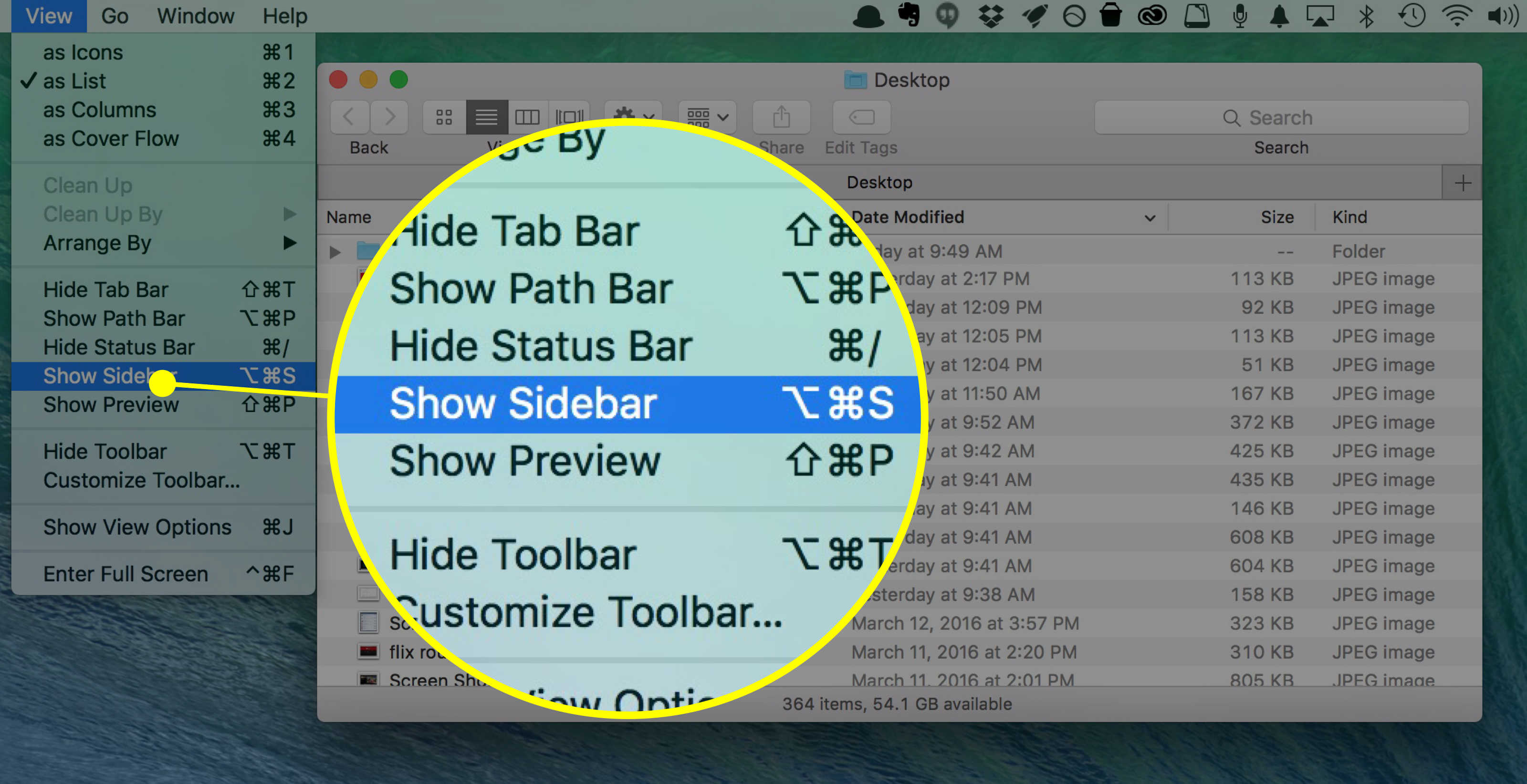 how to find history on mac short cut