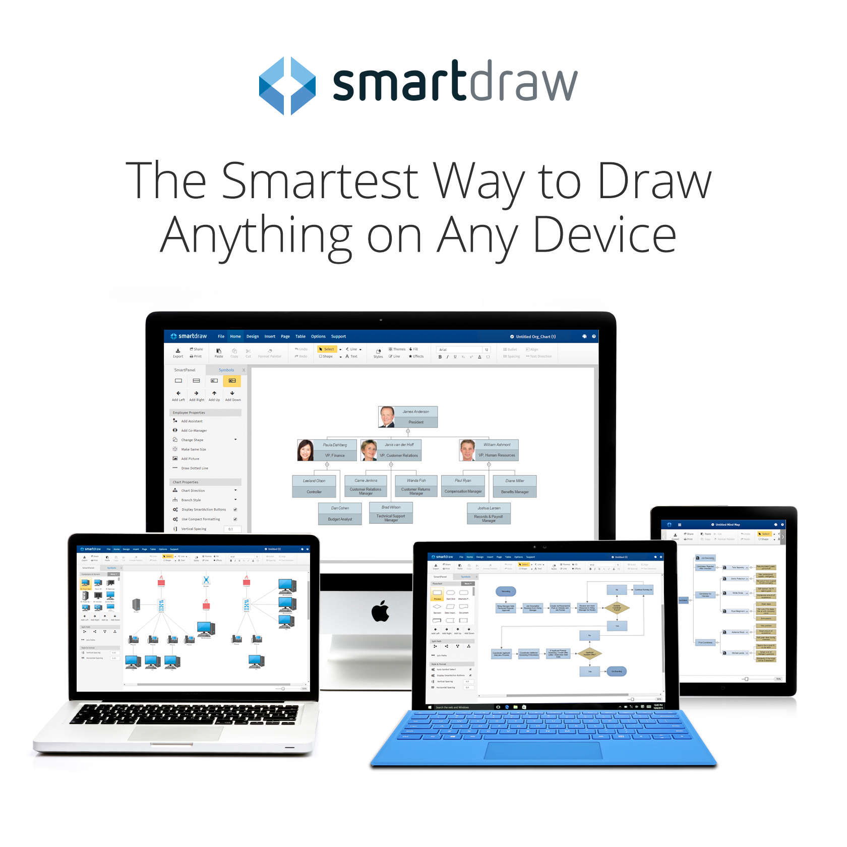 SmartDraw Cloud brings the popular Windows-based diagramming app to all devices, any time.