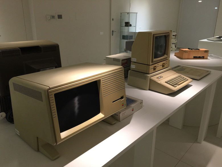 Among the devices on display is a rare Apple Lisa computer, left.