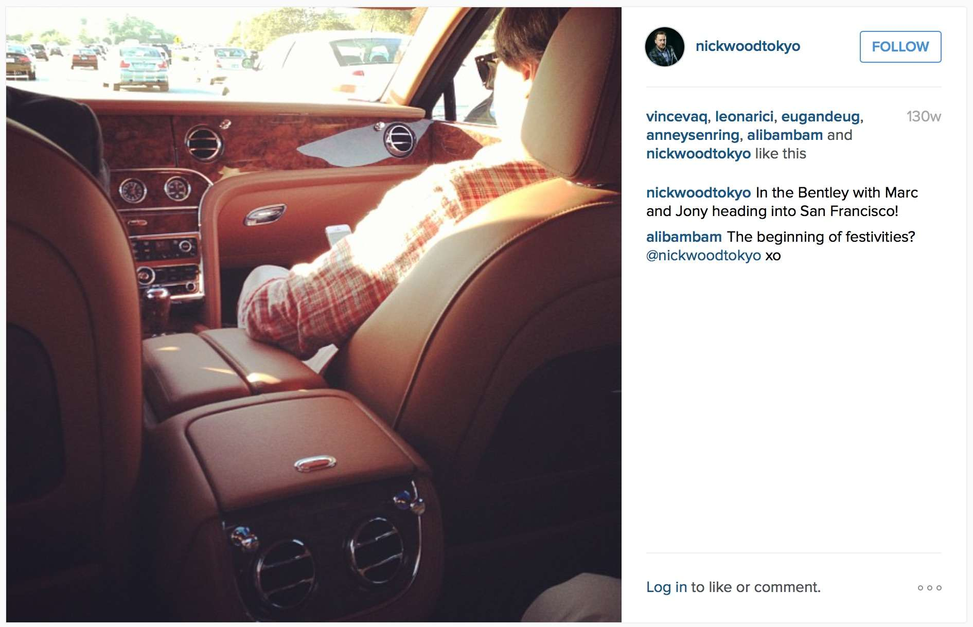 Jony Ive's long-time friend, musician Nick Wood, snapped this Instagram pic from the back of Ive's Bentley.