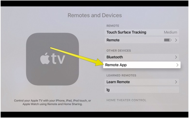 Adding a Remote App to your Apple TV.