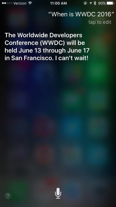 Siri Reveals WWDC 2016 Dates