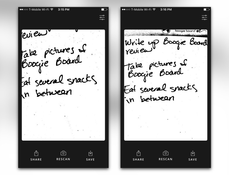 The Jot app tends to cut off edges.