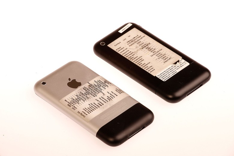 Prototype Apple iPhone 2G (first iPhone). The black phone holds an unreleased version of iOS.