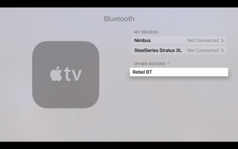 Apple TV will find any nearby BT accessories in pairing mode.