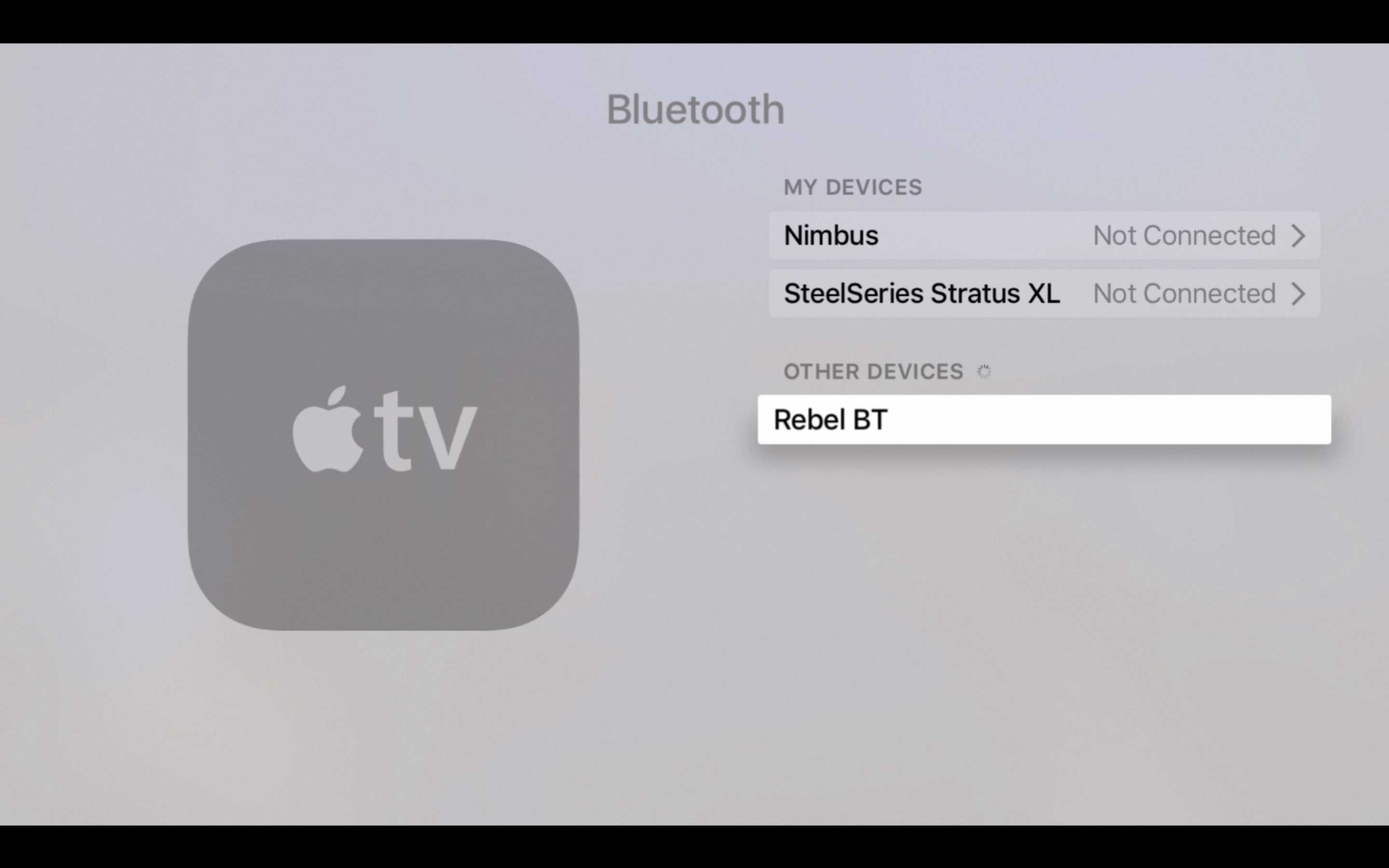 Apple tv will find any nearby bt accessories in pairing mode