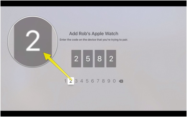 Type in the code from your Apple Watch here