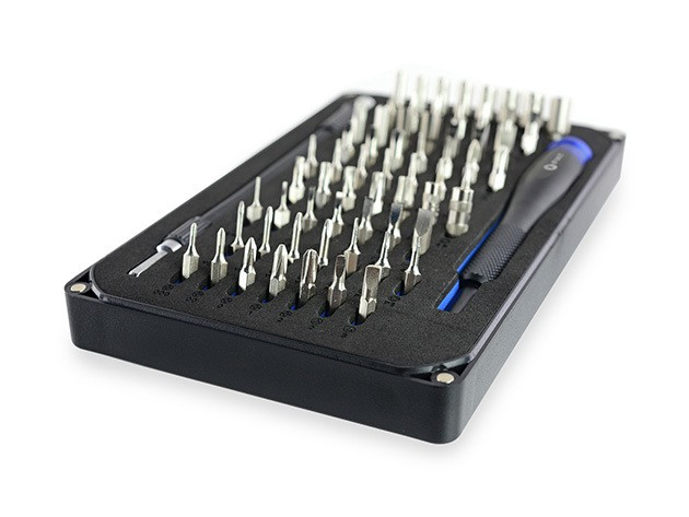 iFixit's kit of 64 specialized screwdriver bits will let you fix that device with the proprietary parts.