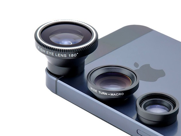 Bring your iPhone camera a big step closer to DSLR quality with three detachable glass lenses.
