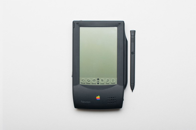 A pre-lease model of a Newton MessagePad with stylus.