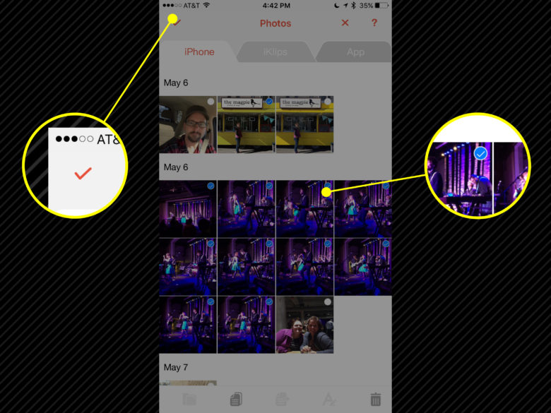 Select your photos and hit the checkmark to save to iKlips.