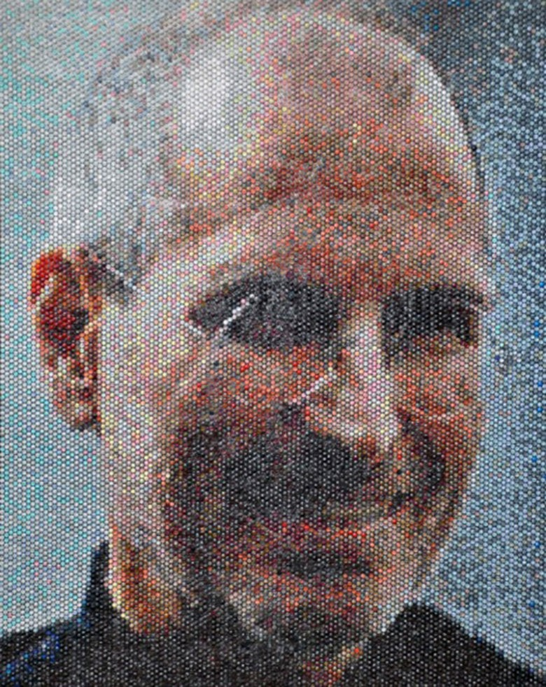 Steve Jobs would probably smile back at this bubble wrap portrait by Bradley Hart.
