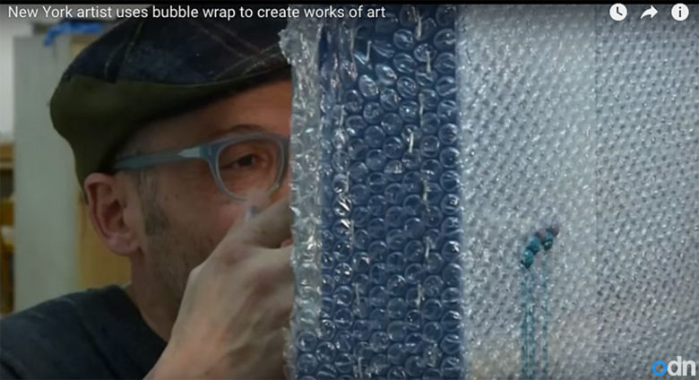 Hart calls the process of injecting paint into bubble wrap meditative.