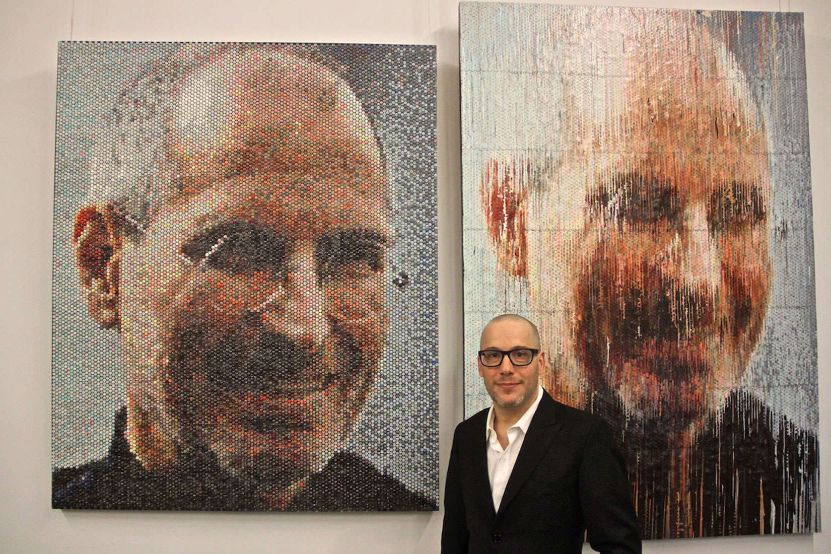 Bradley Hart injects paint into bubble wrap for photo-realistic portraits, like this one of Steve Jobs.