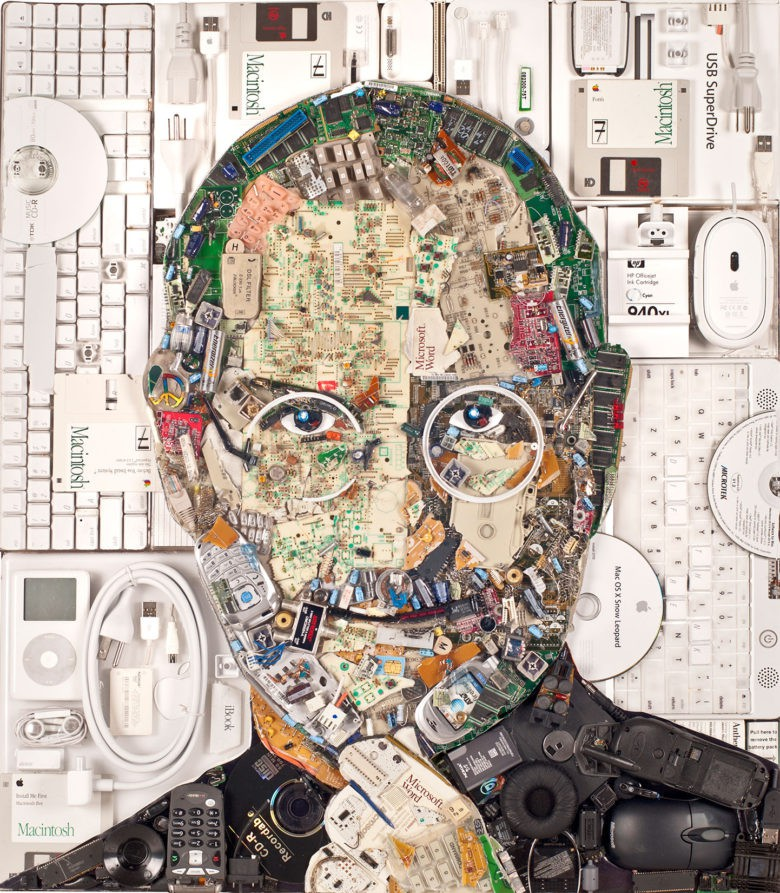 It took 20 pounds of personal computing artifacts to form the face of Steve Jobs.